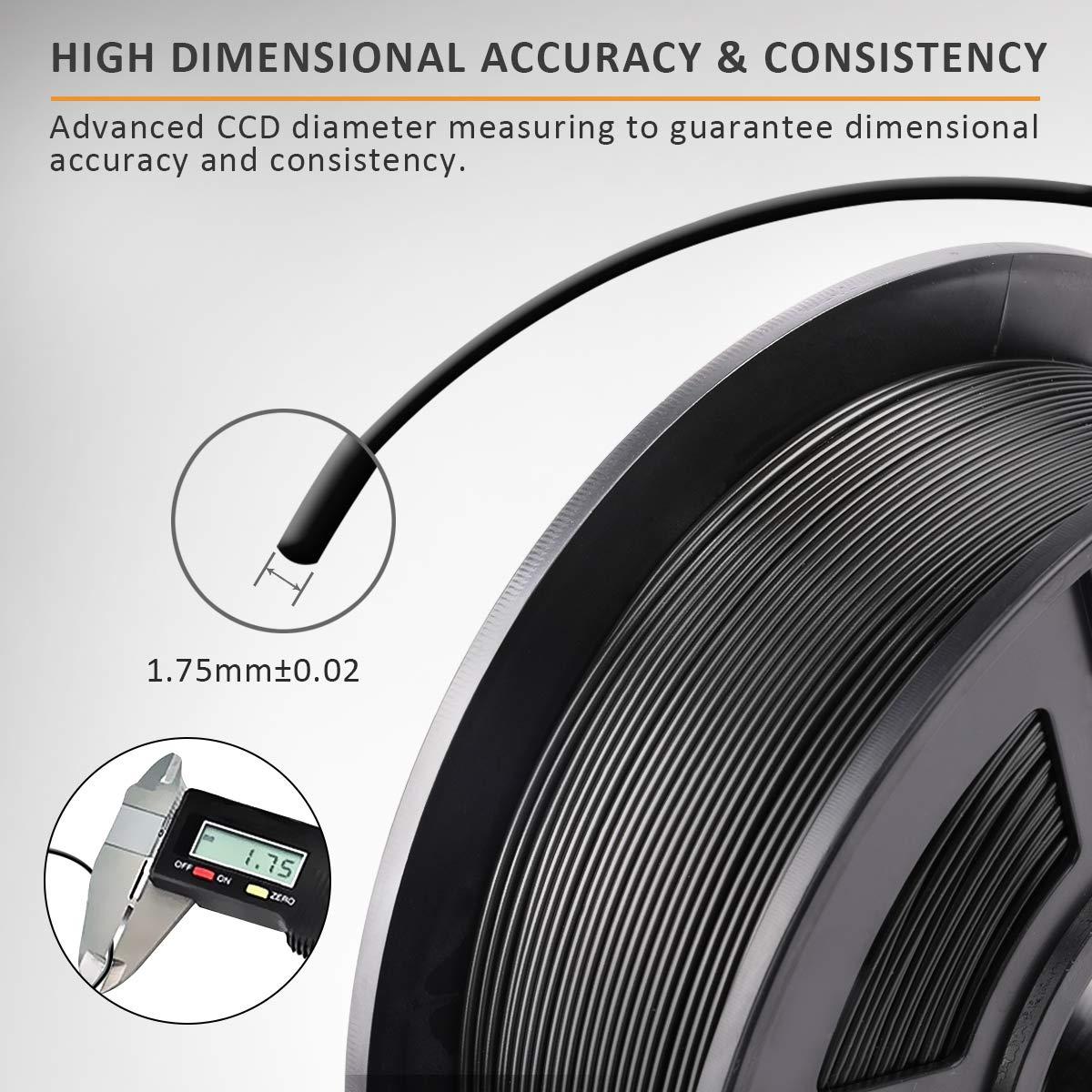 SUNLU Filamento ABS 1.75 0,02 mm,ABS Bianco // Stampante 3D ABS Filamento 1kg Spool Tolleranza del diametro