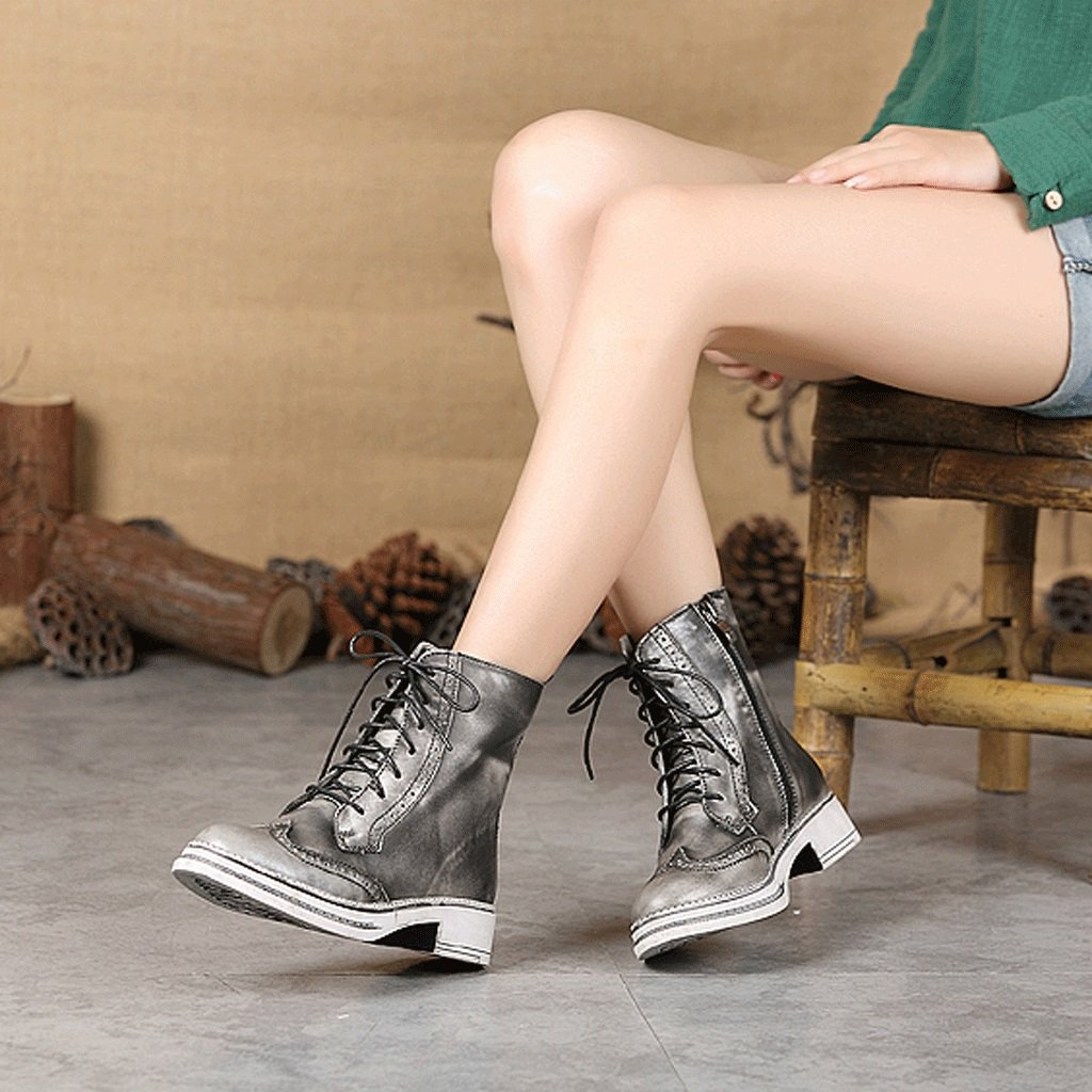 Women 's Martin boots autumn and winter retro genuine leather knights boots personality handmade shoes ( Color : Gray , Size : US:5UK:4EUR:35 ) by LI SHI XIANG SHOP (Image #8)