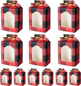 12 Pack Red and Black Plaid Christmas Cookie Bags for Gift Giving Christmas Food Candy Treat Boxes with 30 Pieces Tag Stickers with 73 Feet Yellow Ribbon