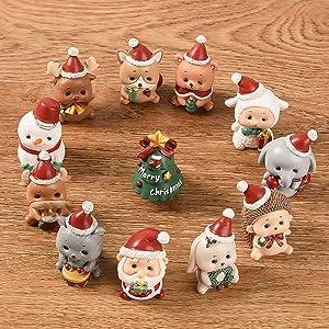 Fukua Micro Landscape Flowerpot Resin Christmas Crafts Decor Small Ornaments,Miniature Resin Decoration Artificial DIY Toys(1)