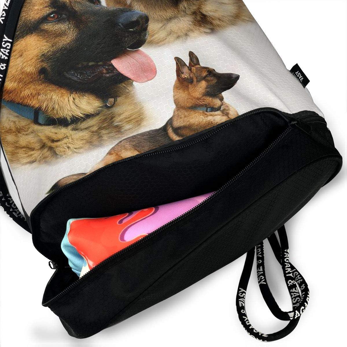 Drawstring Backpack German Shepherd Collage Bags