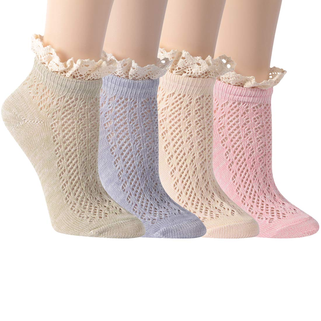 Ankle Socks for Summer, Socks Daze Women's Lace Ruffle Frilly Cool Cotton Casual Novelty Ankle Socks 4/5 Pairs (4 Pairs Multicolored ruffle socks)