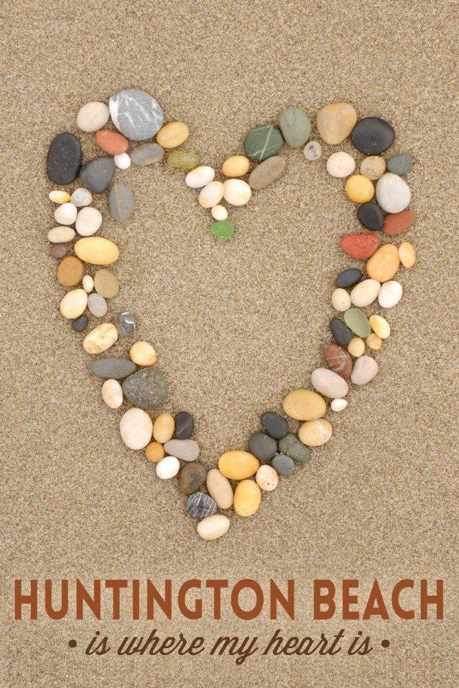 Huntington Beach , California is where my heart is – ストーンハートon Sand 36 x 54 Giclee Print LANT-74707-36x54 36 x 54 Giclee Print  B01MPW7F1Z