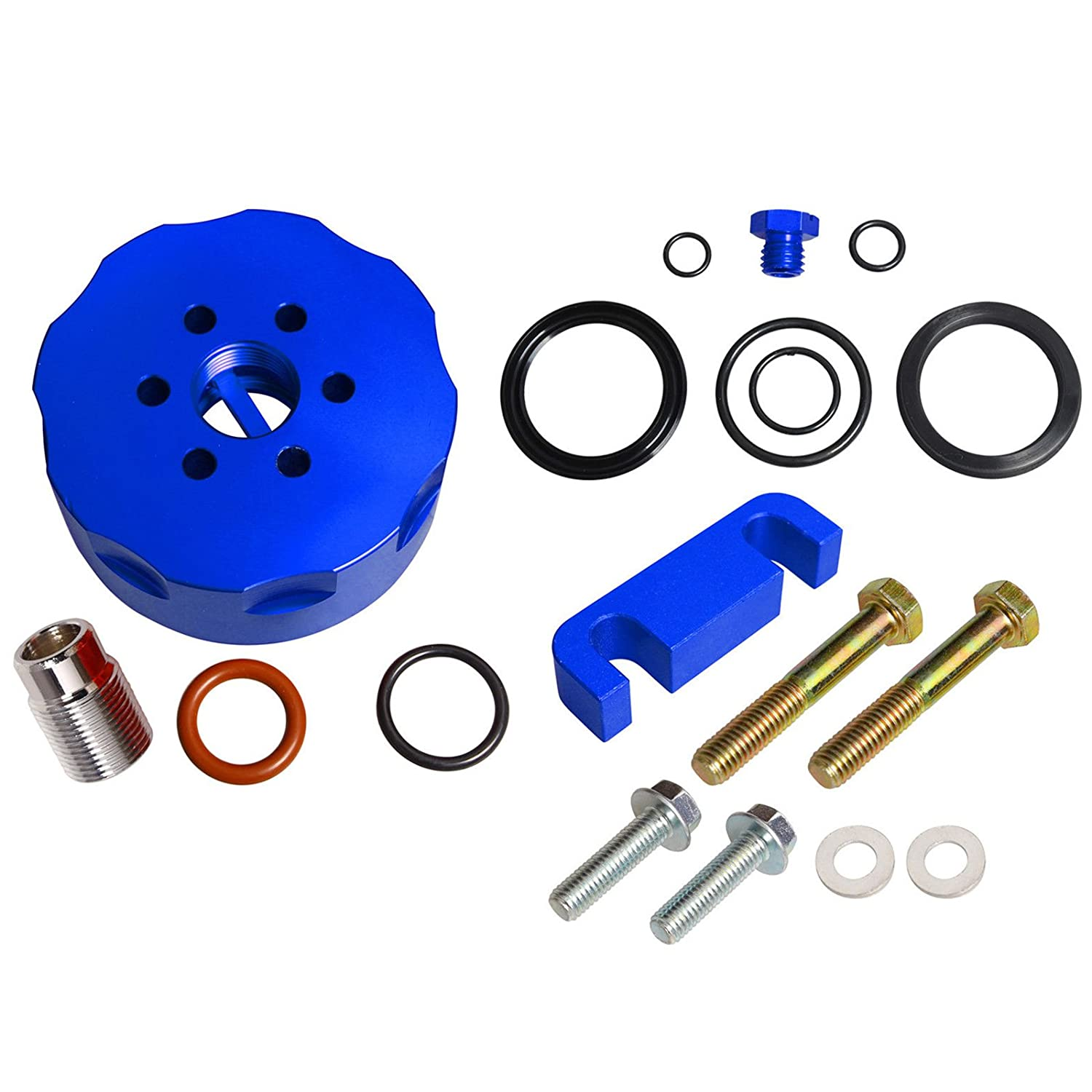 Amazon.com: BLACKHORSE-RACING For Chevy Duramax GMC 6.6L Blue CAT Fuel  Filter Adapter & Spacer & Bleeder & Seal Kit: Automotive