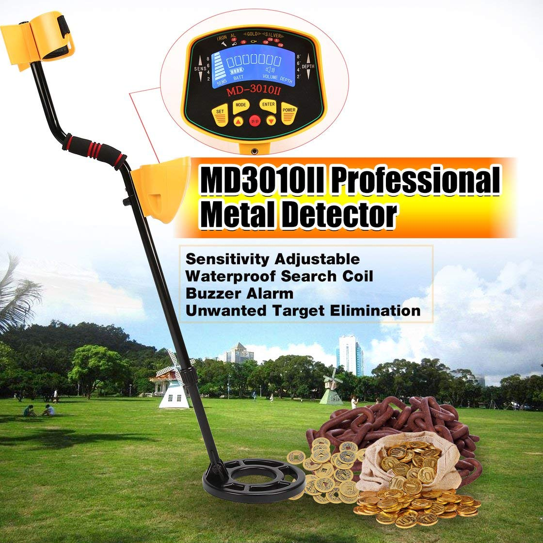 Amazon.com: Exiao MD3010II Professional Portable Underground Metal Detector Handheld Treasure Hunter Gold Digger Finder LCD Display: Toys & Games