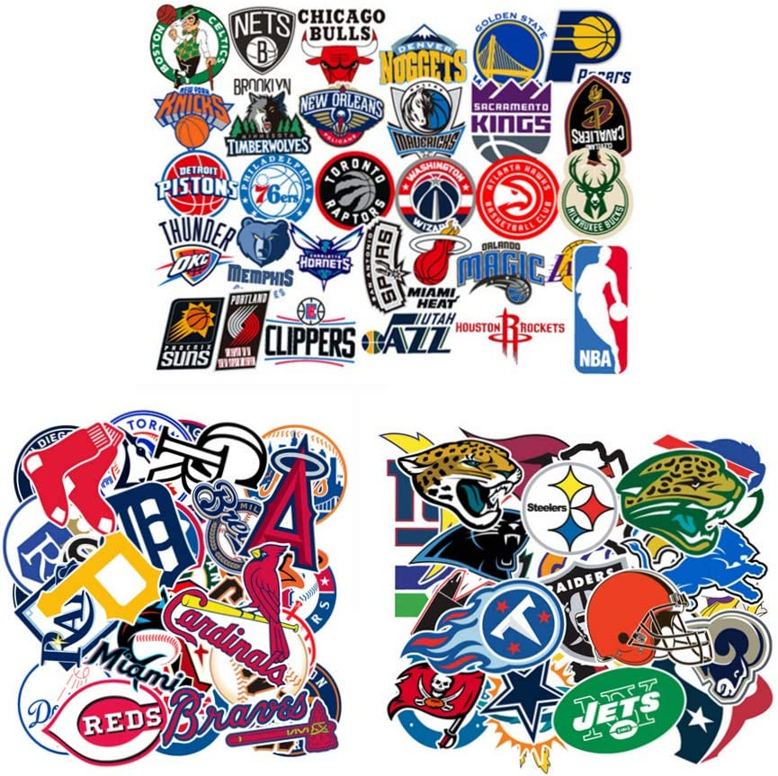 93 Pcs. MLB NFL NBA Team Surf Stickers,Baseball Basketball Football Decals,Sports Paster for Bottle Helmet Binder Notebook Luggage Phone Ipad Laptop Computer Snowboard Skateboard Car Etc.