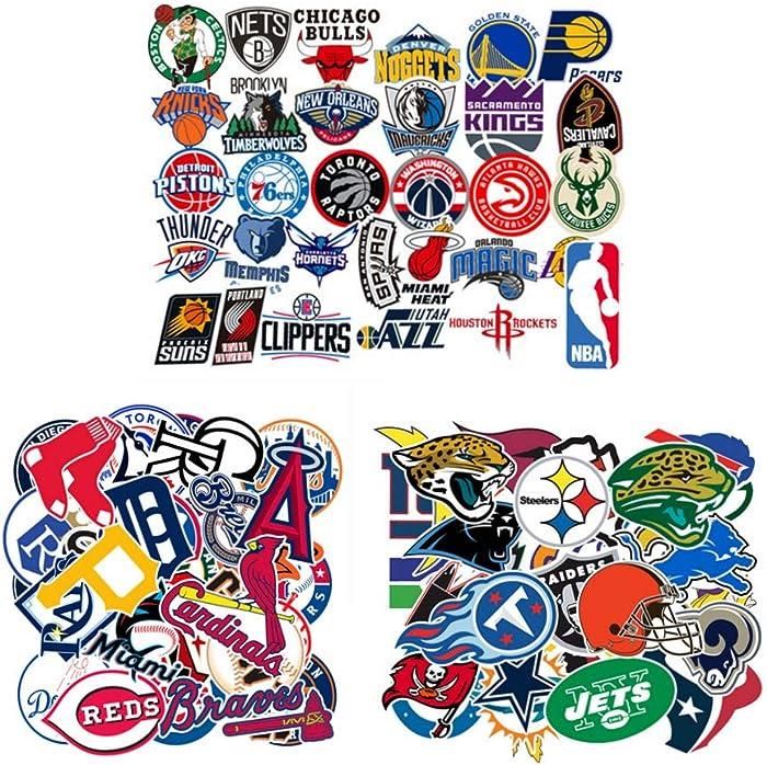93 Pcs. MLB NFL NBA Team Surf Stickers,Baseball Basketball Football Decals,Sports Paster for Bottle Helmet Binder Notebook Luggage Phone Ipad Laptop Computer Snowboard Skateboard Car Etc.