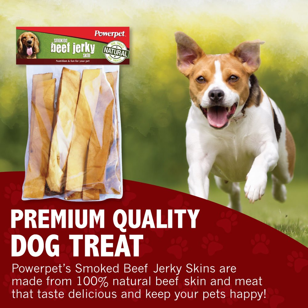 Powerpet: Smoked Beef Jerky Skins - Natural Dog Chew - 8 OZ Pack - Helps Improve Dental Hygiene - 100% Natural & Highly Digestible - Protein with Low Fat - Beef Jerky Dog Treat - Beef Skin and Meat by Powerpet (Image #3)