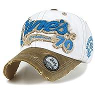 ililily Baseballkappe: abgenutztes Aussehen (Used Look-Design), klassischer Stil, besteht aus 100% Baumwolle, Canes gestrickte Aufschrift, Baseball Cap, Snapback, Trucker Cap, Mütze
