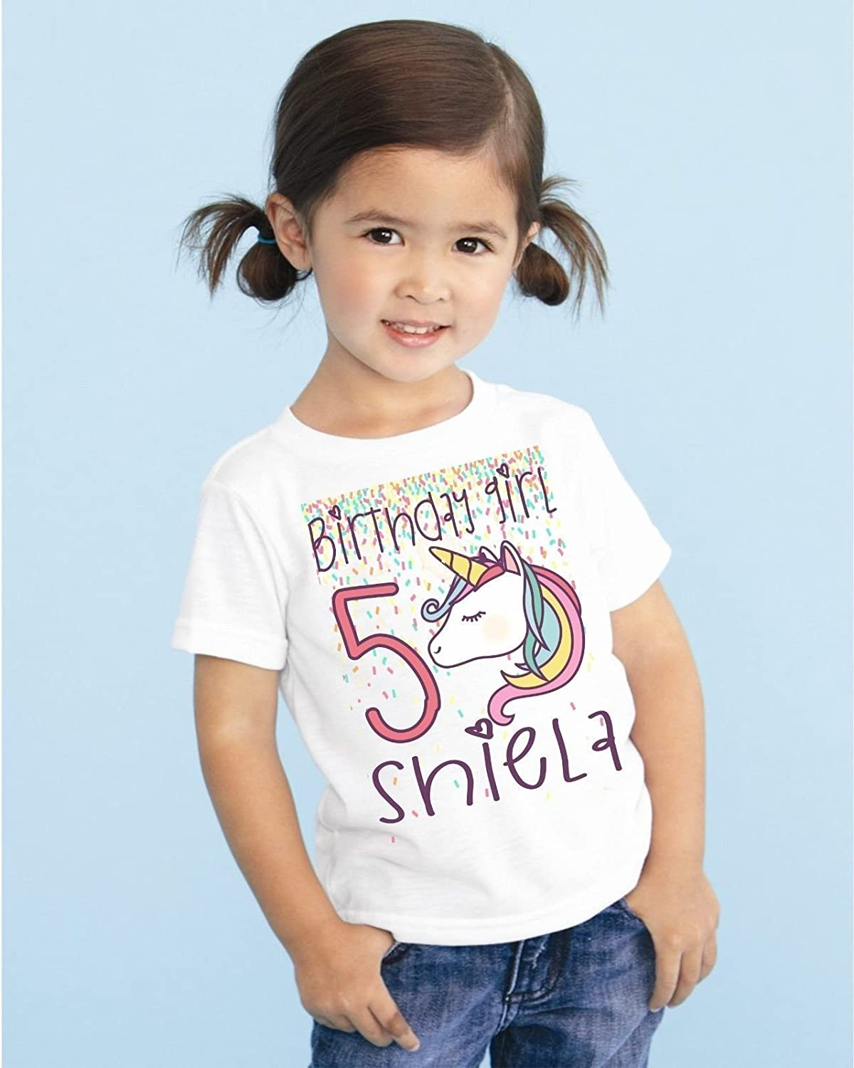 Girls Unicorn Personalized Birthday T Shirt TEE Custom NAME AGE Cute Magic Gift D1