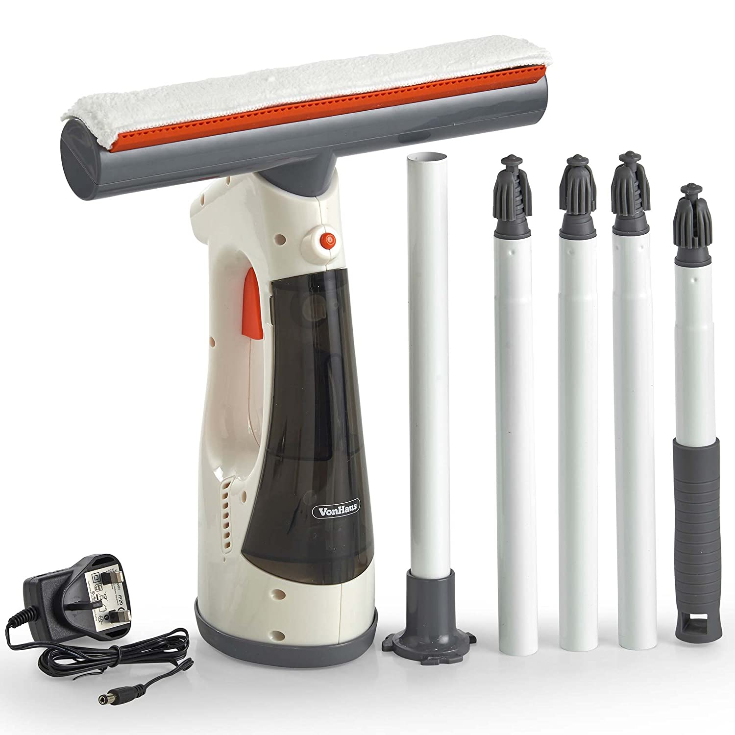 VonHaus 3-in-1 Window Vacuum/Cleaner with Rechargeable Battery – for Glass/Tiles/Windscreens/Shower Screens – Includes Squeegee & Micro-Fibre Pad Domu UK