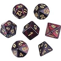 eBoot Juego de Dados Poliédricos 7-Die para Dungeons and Dragons con Bolsa Negra (Rojo Negro)