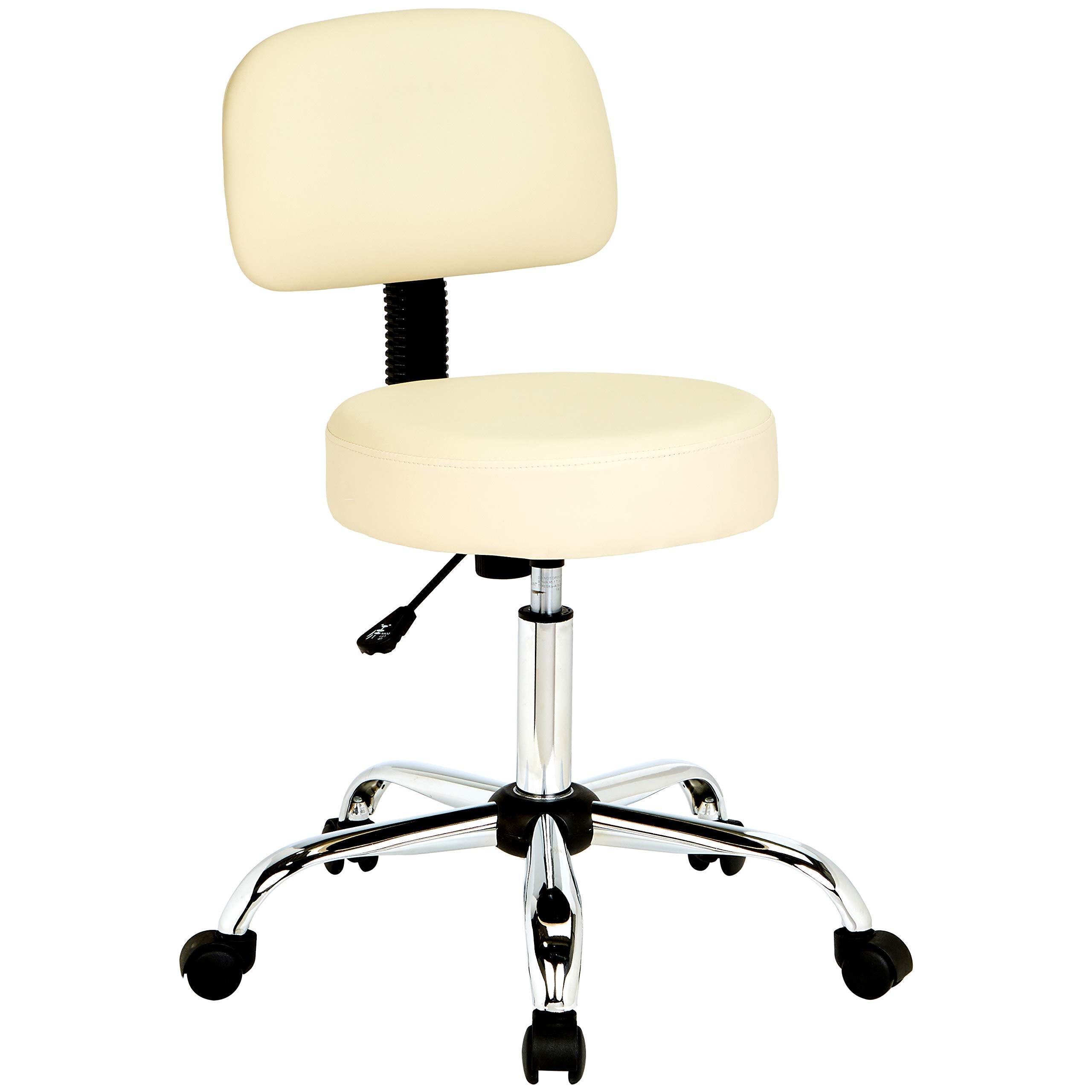 AmazonBasics Multi-Purpose Adjustable Office Drafting Spa Stool with Back Cushion and Wheels - Beige