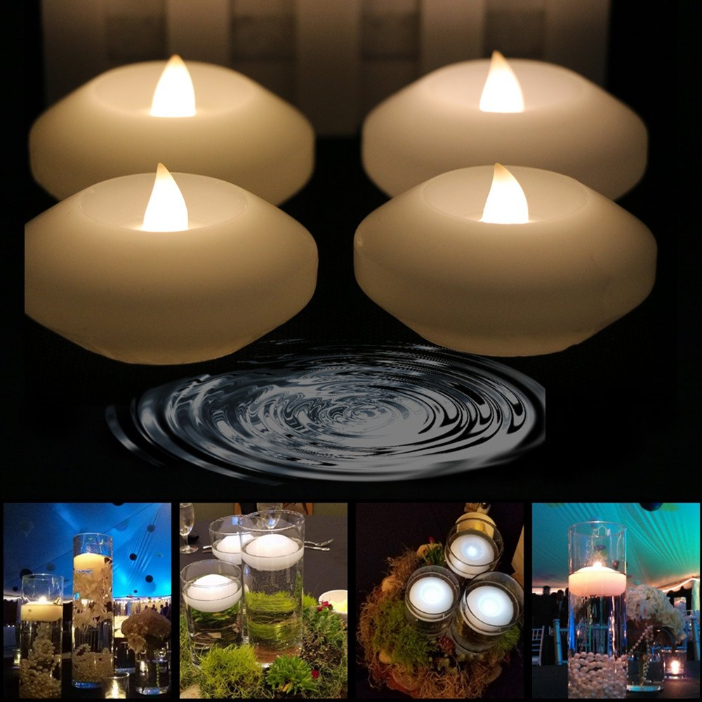 (Pack of 4) LACGO Warm White Color Wax Flicker 3 inch LED Water Floating Candle for Wedding or Party Decoration