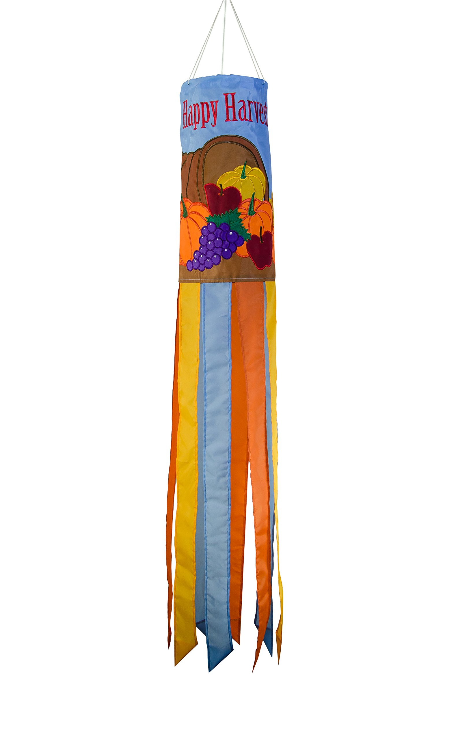 In the Breeze 5030 40 Inch Windsock Hanging Thanksgiving Decoration-Outdoor Holiday Décor, Happy Harvest