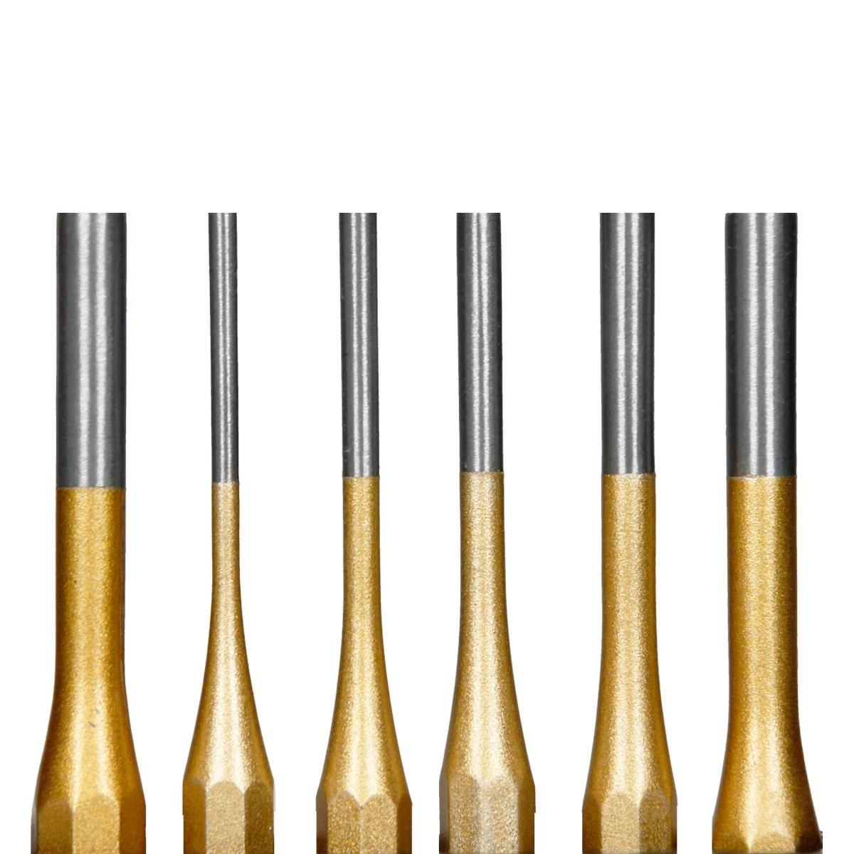 ECD Germany Juego de 6 botadores en acero al cromo vanadio 3-8mm Botadores de pasadores y clavos en pr/áctica caja met/álica