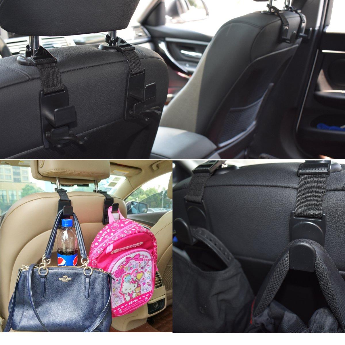 Car Seat Headrest Hooks Hanger Strong Durable Backseat Headrest Hanger Storage For Handbags and Grocery Bags Universal Vehicle Car Seat Back Headrest Bottle Holder 4 Pack Purses HOOKS-2 Coats