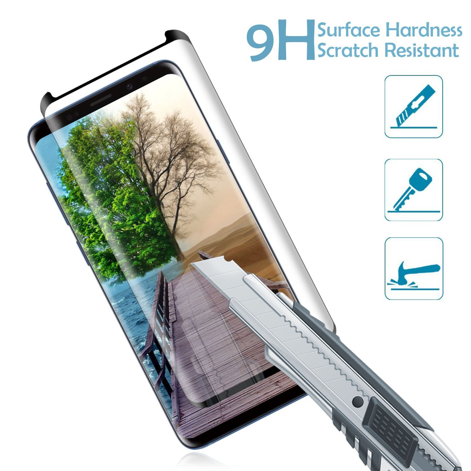 Galaxy S9 Screen Protector Tempered Glass for Samsung S9 AILIBOTE 3D Curved Dot Matrix 2 Pack Case Friendly Glass Screen Protector Full Screen Coverage Update Version