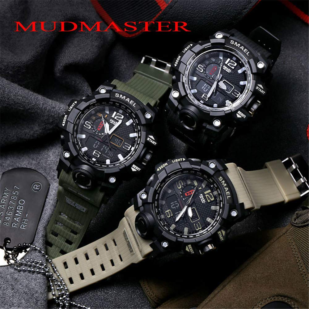 Amazon.com: DYTA Analog-Digital Watches for Men LED Dual Display Sport Wrist Watches 5ATM Water Resistant Outdoor Calendar Watch Military JP Quartz ...