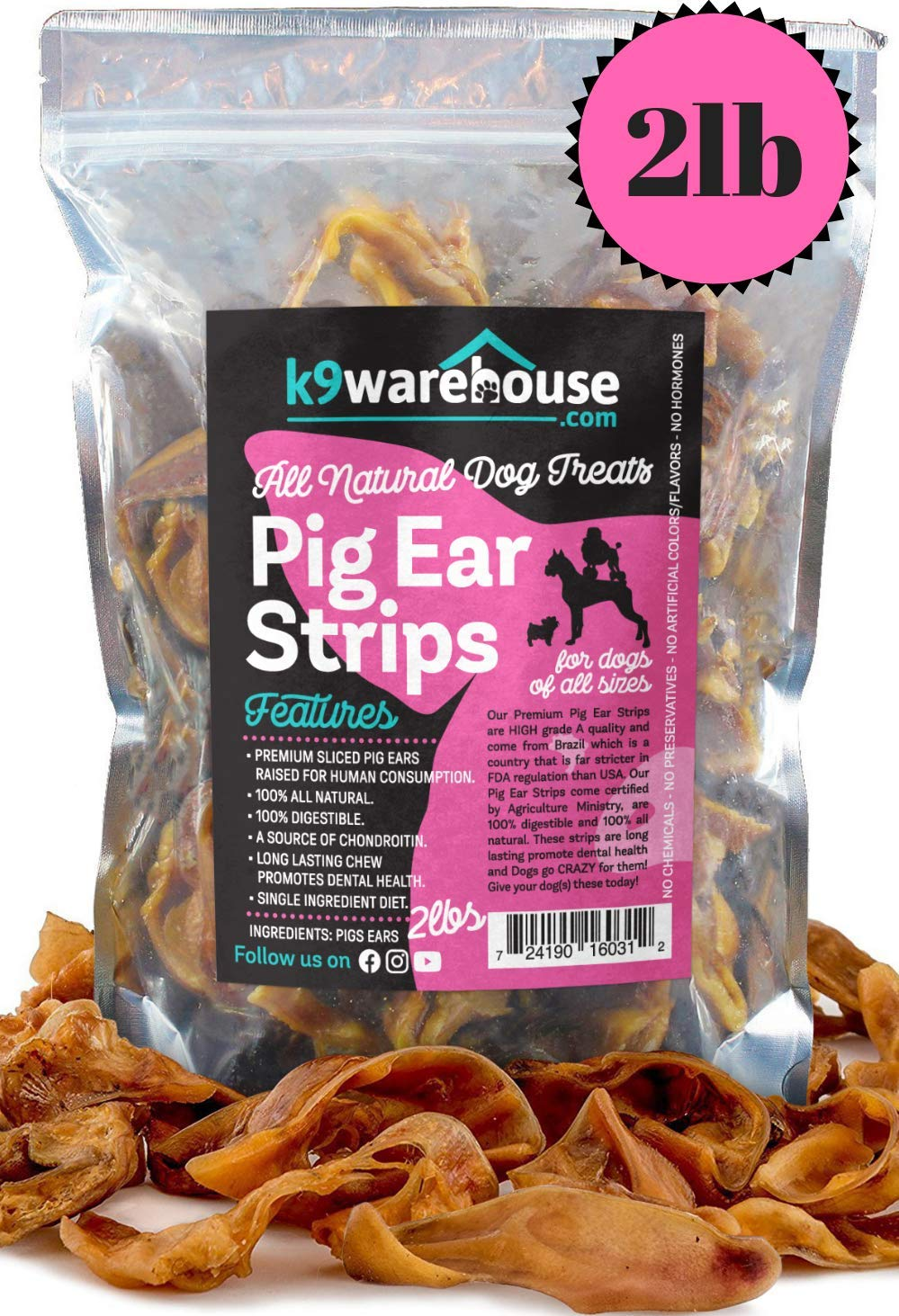 Pig Ear Strips for Dogs | Two Pound Bag (40+) of All Natural Healthy Dog Treats | Made of Pure Cut Pork Slivers | Best Alternative to Rawhide Chews | Thick Cut Treat for Small, Medium and Large Dogs