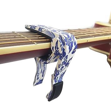 elecguru - Cejilla de guitarra acústica y eléctrica para 6 cuerdas, una sola mano, de cambio rápido, ligero, de madera, azul: Amazon.es: Instrumentos ...