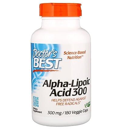 Doctors Best | ácido alfa-lipoico | 300 mg | 180 cápsulas veganas | sin gluten y soya
