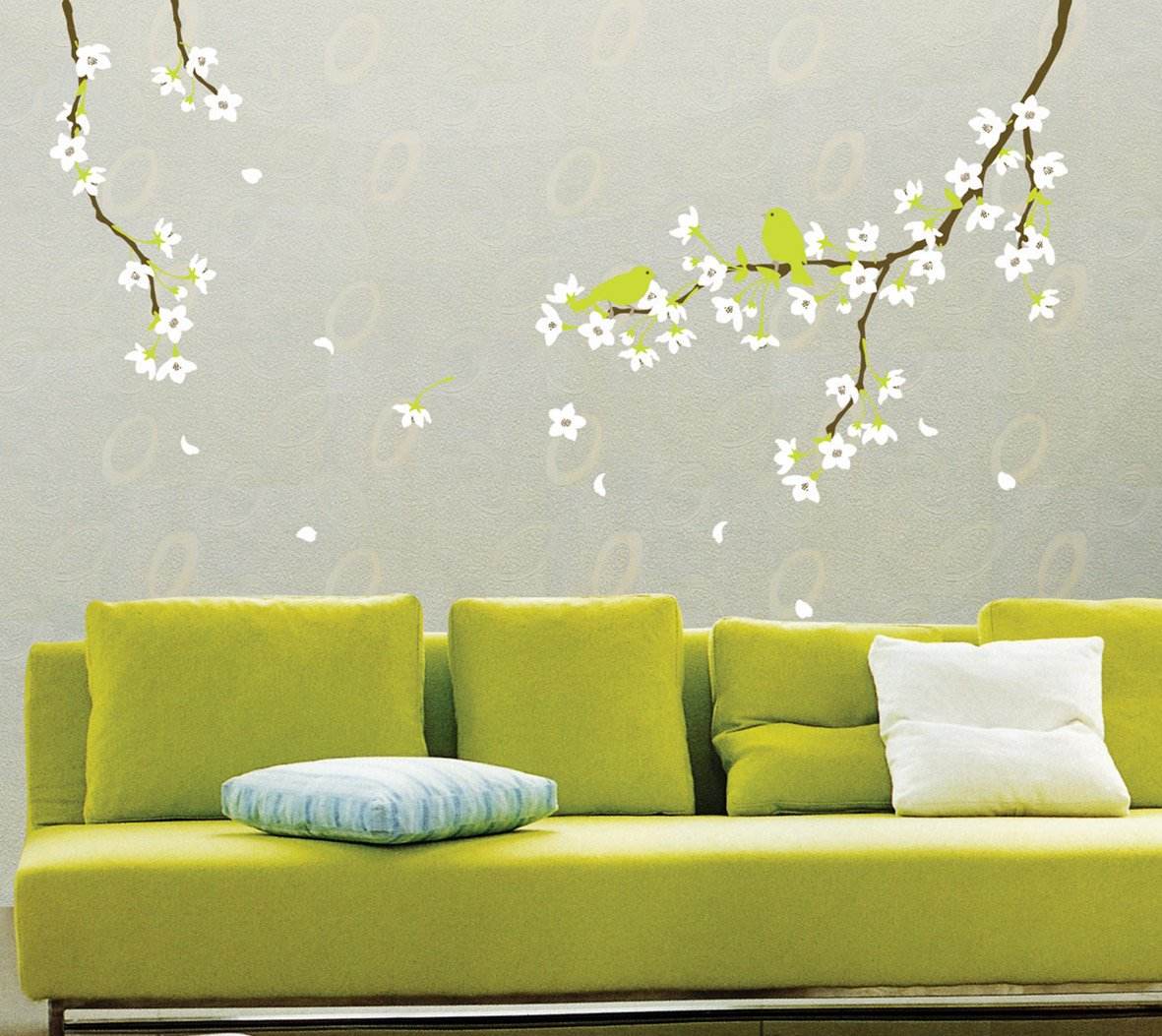 Reusable Decoration Wall Sticker Decal   Spring Flowers And Birds   Nature  Wall Decals   Amazon.com