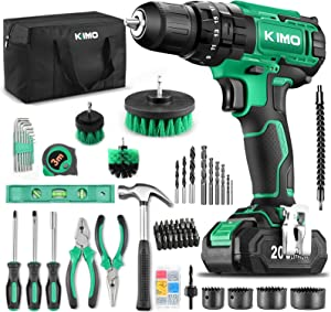 """KIMO Cordless Drill Driver+ Kit, 20V Drill Driver Set w/Li-ion Battery/Charger, 68PCS Accessories, 3/8"""" Chuck, 350 In-lb Torque Drill Bits, Torpedo Level, Wire Pliers for Wood, Furniture Installation"""
