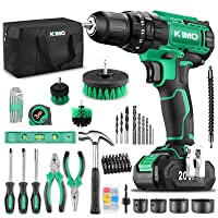 KIMO Cordless Drill Driver+ Kit, 20V Drill Driver Set w/Li-ion Battery/Charger, 68PCS Accessories, 3/8