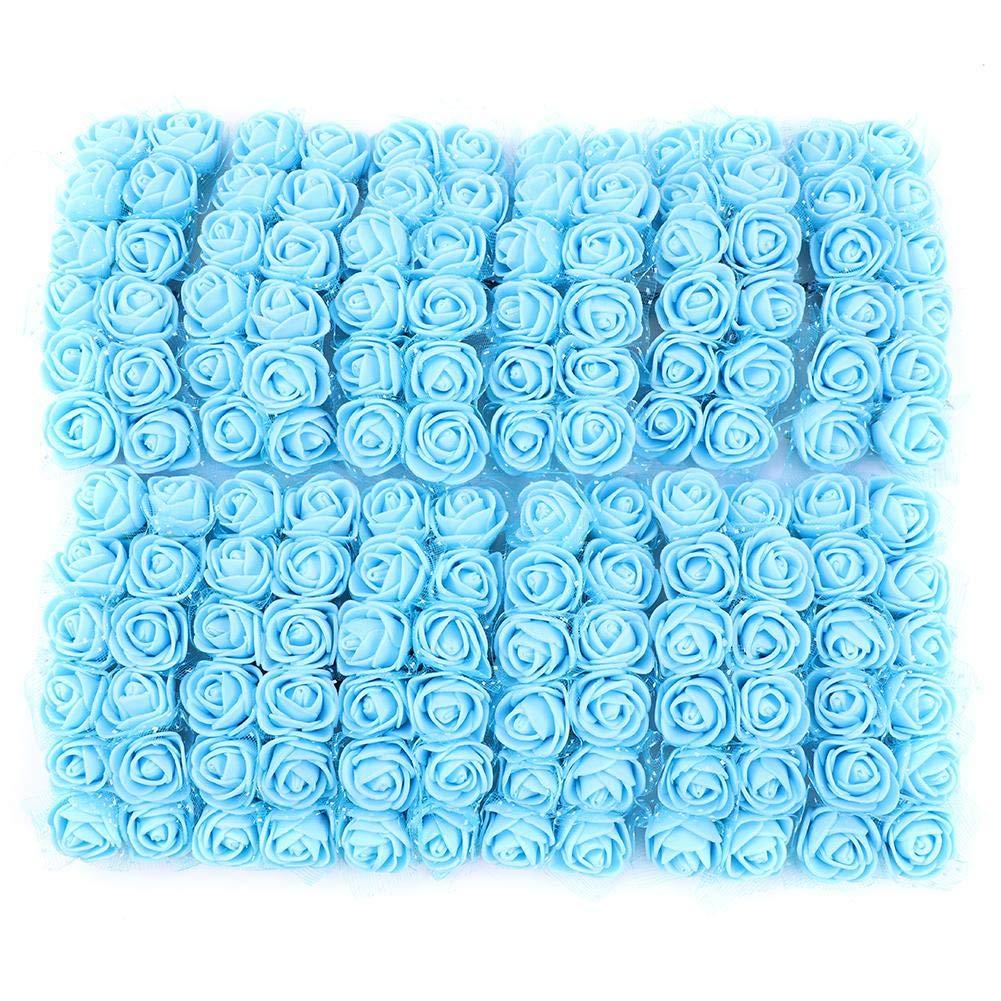 Demiawaking 144pcs Teste di Rose in Schiuma Mini Rose Finte per Decorazioni Bouquet Fiori Artificiali con Stelo Decorazione per Matrimonio Festa Auto Casa DIY Ghirlanda di Fiori da Sposa Rosa