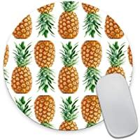 Smooffly Vintage Pineapple Painting Art Round Mouse Pad, Cute Tropical Pineapple Circular Mouse Pads Size 7.9 x 7.9 x 0.12 Inch