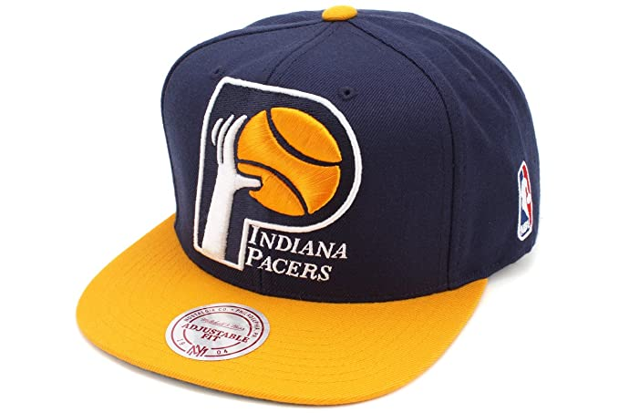 san francisco 8a260 fbde0 Image Unavailable. Image not available for. Color  Indiana Pacers Mitchell    Ness XL Vintage Logo 2 Tone Snapback Navy and Gold Hat