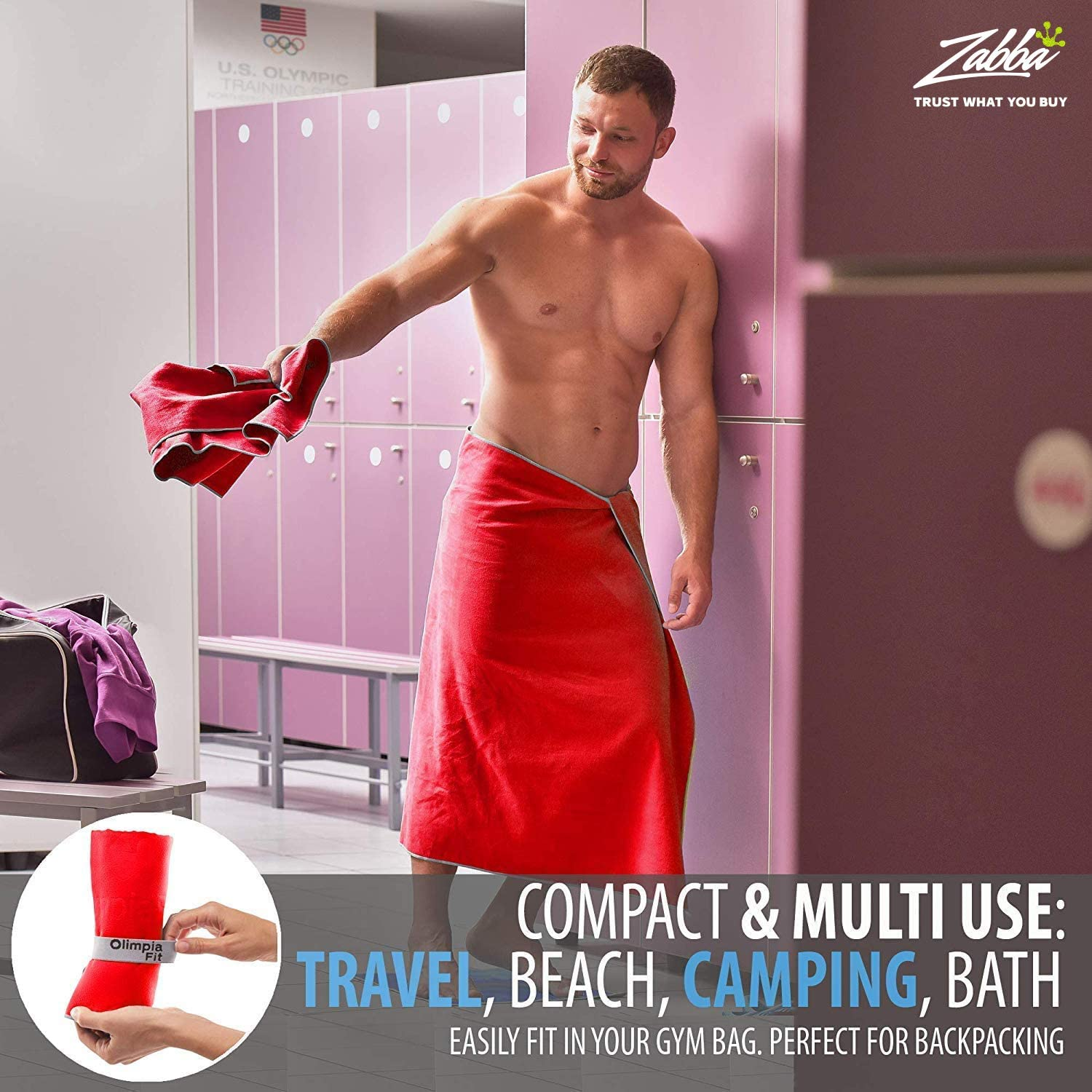 Yoga Gym Lightweight Compact Soft Beach 3 Size Pack Sports Travel Towel w// Bag Backpacking - Camping Quick Dry OlimpiaFit Microfiber Towels