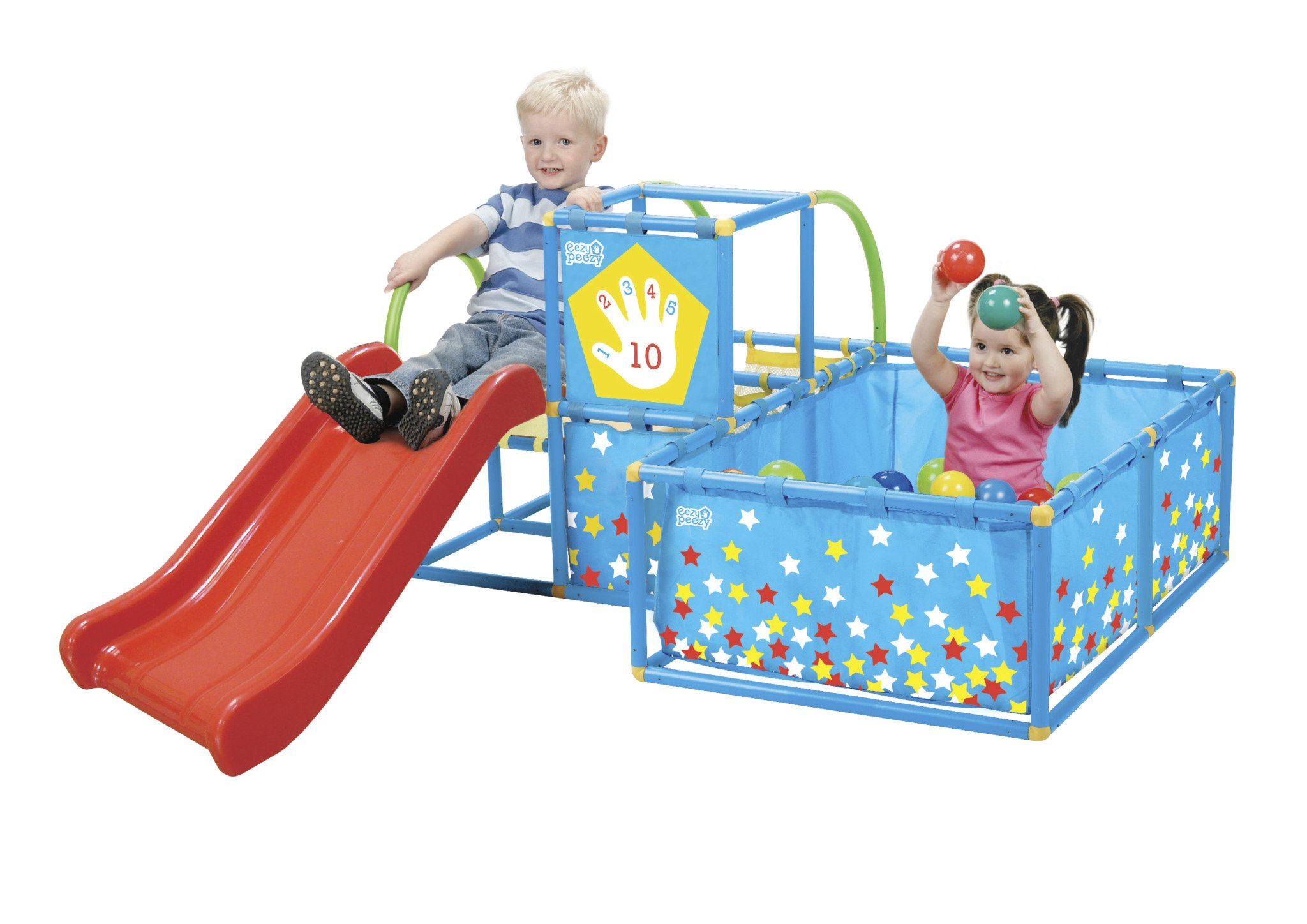 Eezy Peezy Active Play 3 in 1 Jungle Gym PlaySet - Includes Slide, Ball Pit, & Toss Target with 50 Colorful Balls by Eezy Peezy