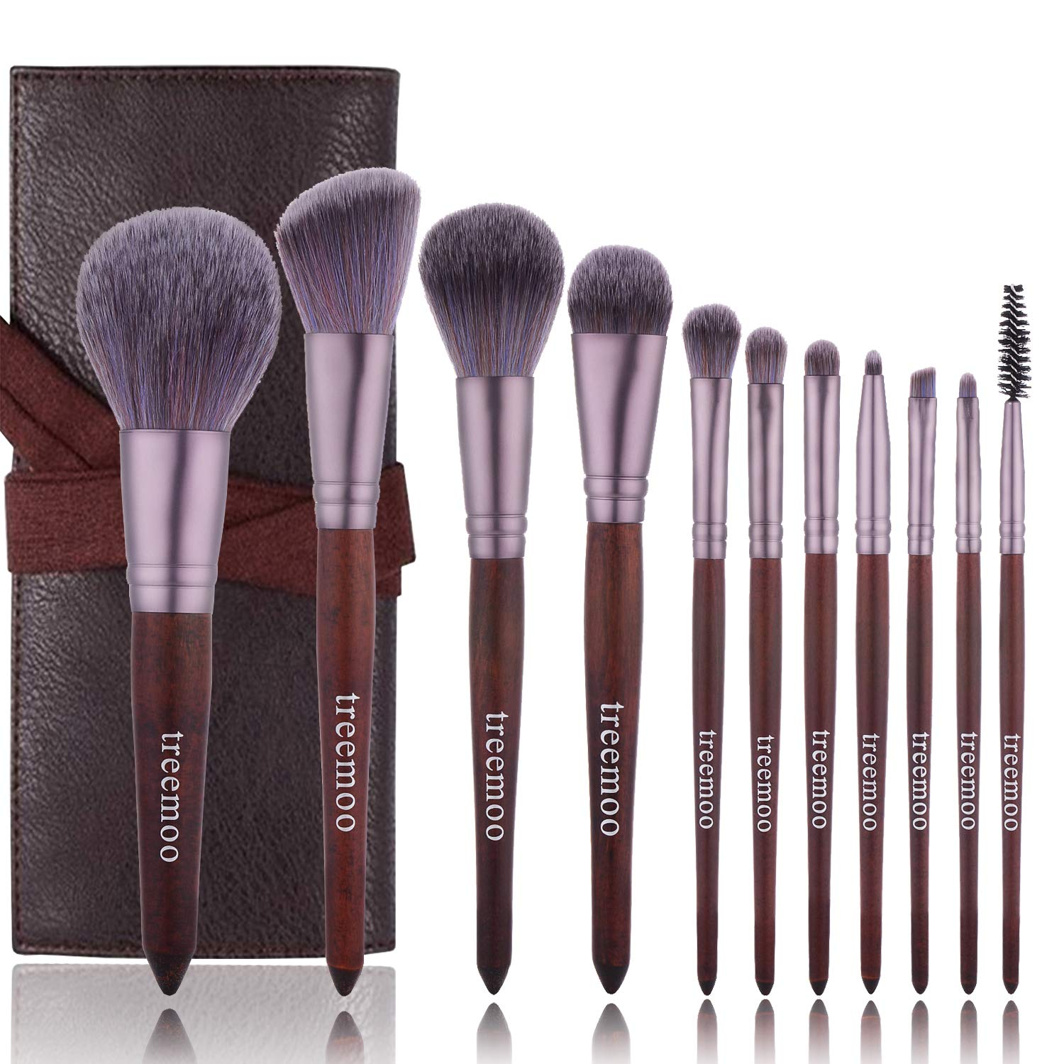 Makeup Brushes Set Treemoo 11pcs Professional Wooden Handle Brush Set Soft and Thick Bristles with Foundation Face Eyebrow Eye Shadow Brush