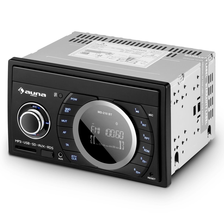 Bluetooth, Front-USB-SD-Slot, AUX-IN, 4x75 Watt max., RDS, ID3-Tag, Fernbedienung auna MD-210 BT Doppel Din Autoradio Bluetooth MP3 Autoradio 2-DIN Freisprecheinrichtung schwarz
