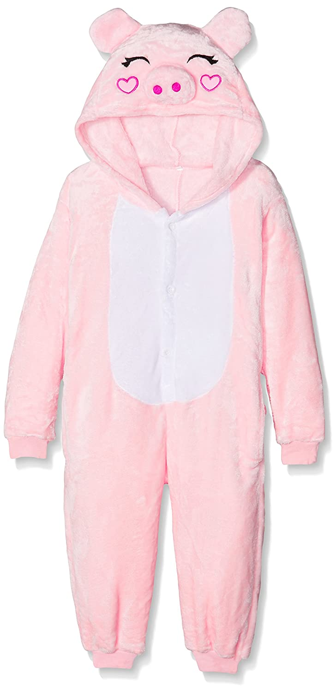 Kigurumi Unisex-Kids Costume Cosplay Halloween E Pigiama-Pink Pig Pyjama Set 105 cm