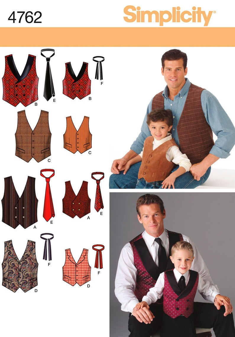 Simplicity Sewing Pattern 4762 Boys and Men Vests and Ties, A (S-M-L/S-M-L-XL) Simplicity Creative Patterns