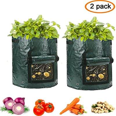 Clothink Potato Grow Bag 2-Pack Garden Vegetables Planter Bags with Flap Access and Handles Heavy Duty Suitable for Potato, Carrot, Tomato, Onion and so on : Garden & Outdoor