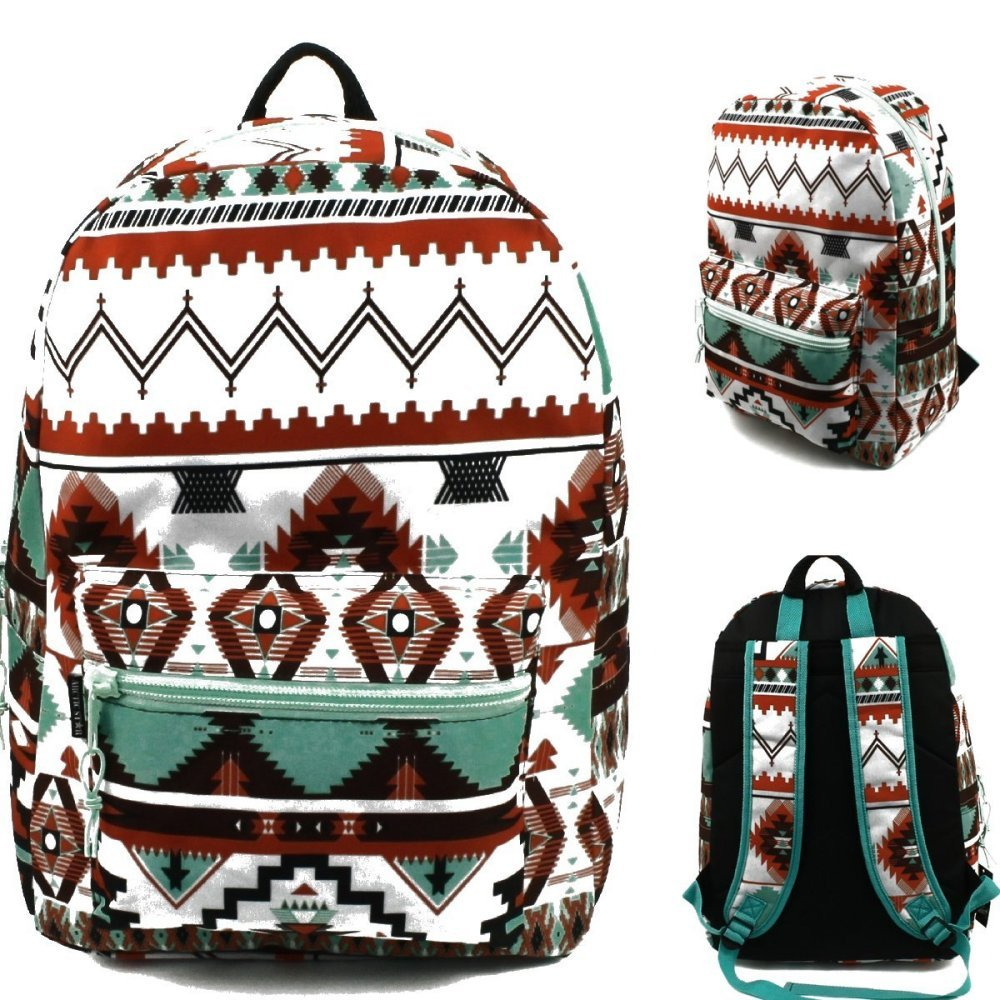 17'' Wholesale Padded Aztec Fashion Backpack - Case of 24