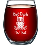 Owl Drink to That Funny 15 Ounce Stemless Wine Glass | Perfect Birthday Owl Themed Men or Women | Owls Kitchen Decor and…