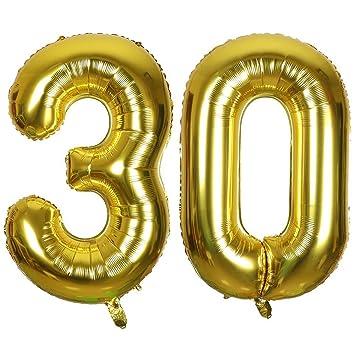 Ouinne Globo 30 Años, 40 Pulgadas Globo del Cumpleaños Número 30 Helio Globos para La Decoración Boda Aniversario (Oro)
