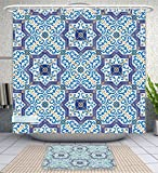 Unique Custom Bathroom 2-Piece Set Moroccan Decor Collection Moroccan Portuguese Style Classic Tiles Ornaments Islamic Historical Buildings Shower Curtains And Bath Mats Set, 60''Wx72''H & 23''Wx16''H