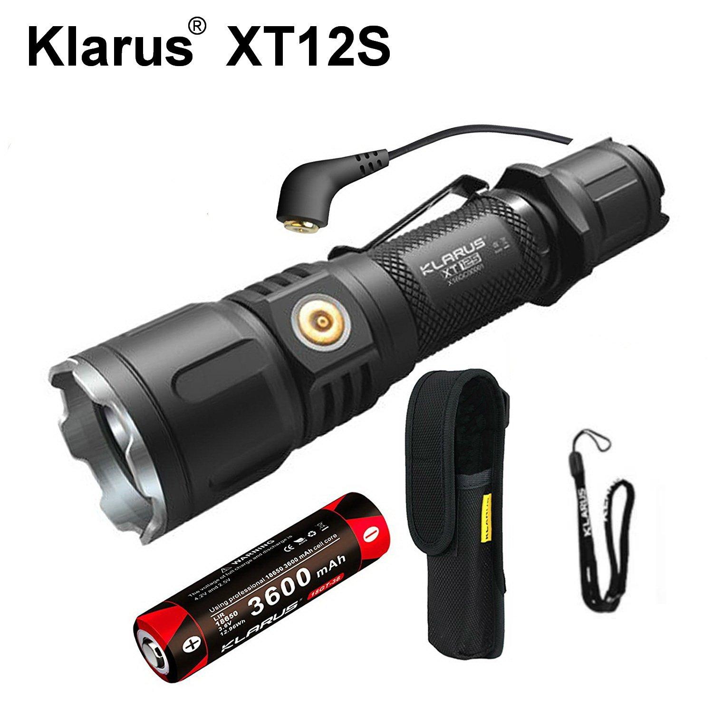 Klarus xt12s Mini Tactical CREE xph35Hi D4LED Taschenlampe 1318FT 1600LM Dual Schalter wasserdicht Taschenlampe enthalten 3600mAh wiederaufladbar 18650Akku Magnetischer Lade