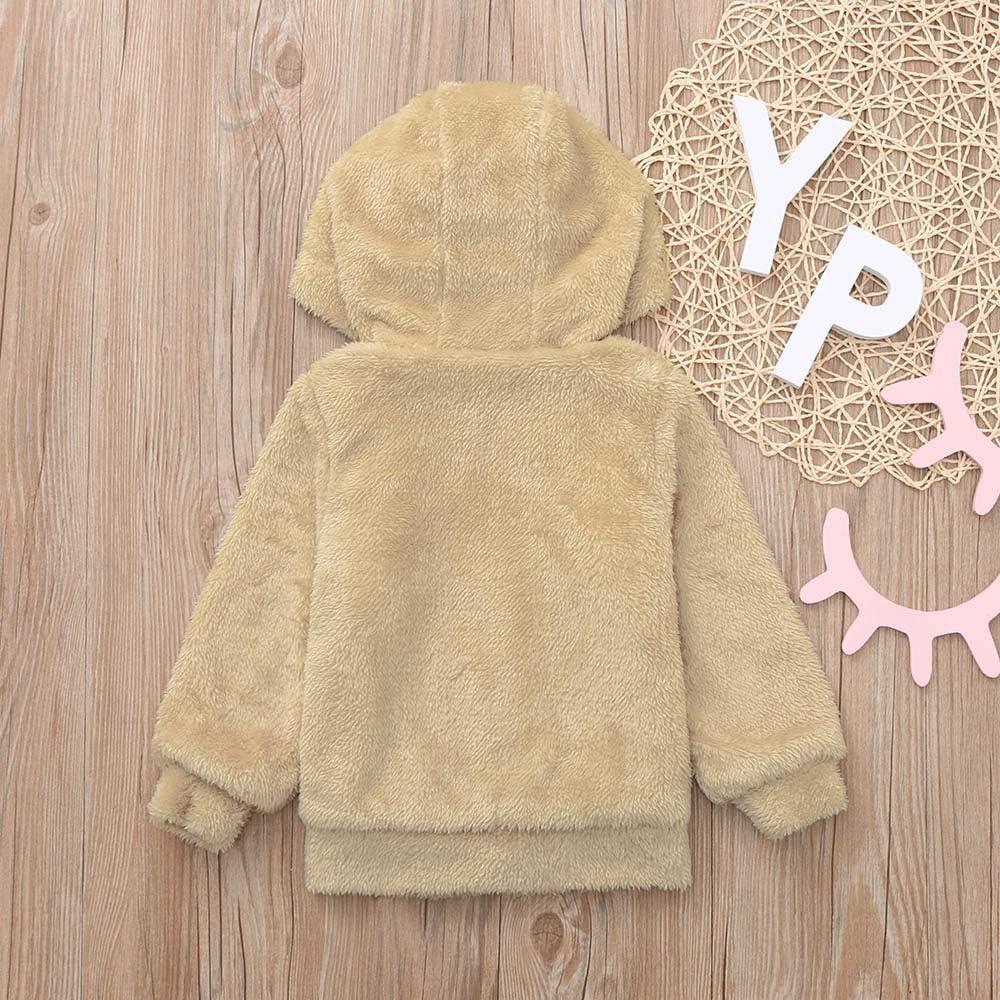 Infant Baby Girls Autumn Winter Warm 3D Cartoon Rabbit Ear Hooded Coat Cloak Jacket Thick Plush Outerwear Clothes