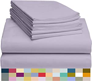 "LuxClub 6 PC Sheet Set Bamboo Sheets Deep Pockets 18"" Eco Friendly Wrinkle Free Sheets Hypoallergenic Anti-Bacteria Machine Washable Hotel Bedding Silky Soft - Lavender Full"