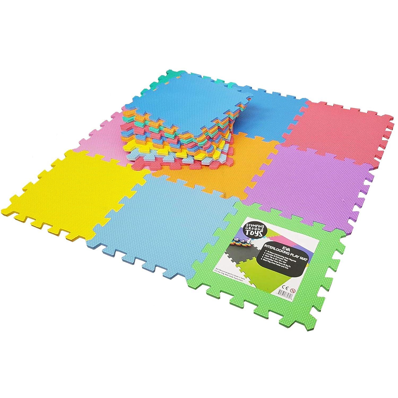 Stomping Ground Toys™ - 18dalles de sol en mousse pour enfant tapis d'activité colorées à imbriquer Wholesale Solutions Ltd