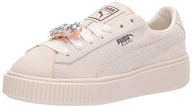 9148f3113f00 PUMA Women s Suede Platform Gem Sneaker Whisper White