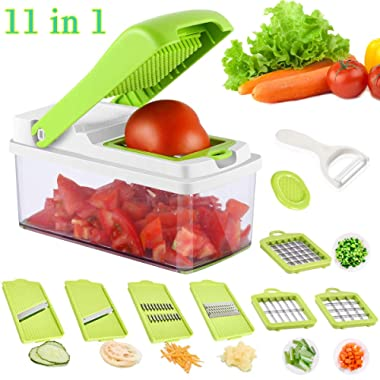 Vegetable Chopper, Onion Chopper, 11 Pieces with 7 Interchangeable Stainless Steel Blades and Peeler, Artbest Multipurpose Kitchen Vegetable Dicer Slicer Cutter for Fruits Cheese with Cleaning Brush