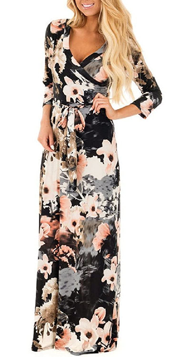 904e71a88 Women Summer Floral Boho V-Neck Evening Party Beach Dress Plus Size Ladies  Casual Long/Short / 3 4 Sleeve Maxi Sundress for Cocktail Wedding Holiday  Wear ...